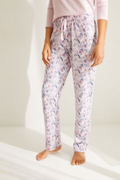 Womensecret Pantalon long coton fleurs rose rose