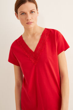 Womensecret Collar detail t-shirt burgundy