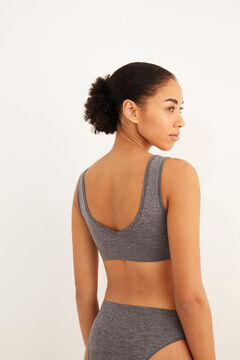 Womensecret Plain grey seam-free crop top grey