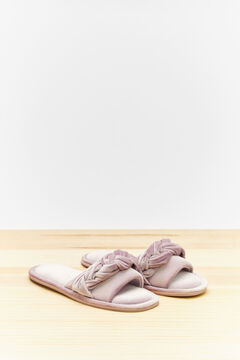 Womensecret Maroon woven slider slippers printed
