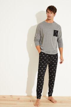 Womensecret Pijama largo gafas algodón negro