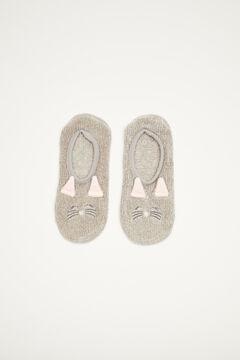 Womensecret Fluffy grey 3D cat no-show socks grey