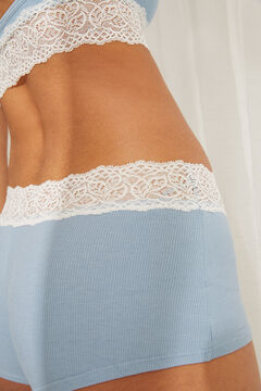 Womensecret Blue organic cotton boxer briefs with lace trim blue