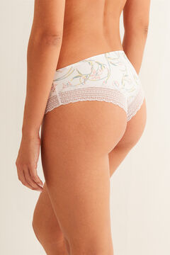 Womensecret Lace detail microfibre boyshort Brazilian panty pink