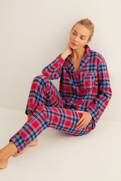 Womensecret Classic long checked flannel pyjamas printed