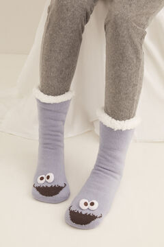 Womensecret Long Cookie Monster non-slip socks blue