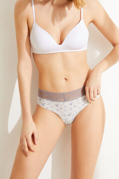 Womensecret Lace detail classic cotton wide side panty grey