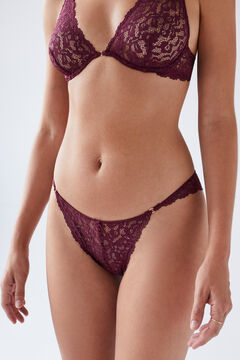 Womensecret Maroon lace Brazilian panty printed
