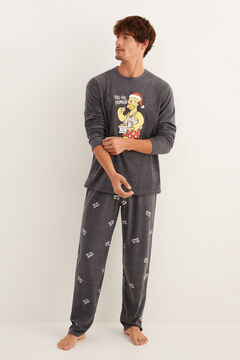 Womensecret Men's long grey fleece Homer Simpson pyjamas grey