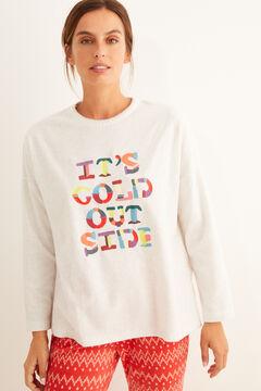 Womensecret Pyjama long polaire imprimé lettres gris