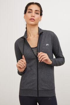Womensecret Sweatshirt com fecho-éclair na gola cinzento
