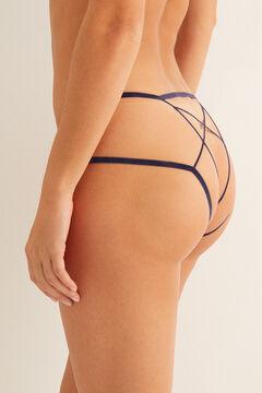 Womensecret Culotte classique en dentelle brides arrière bleu