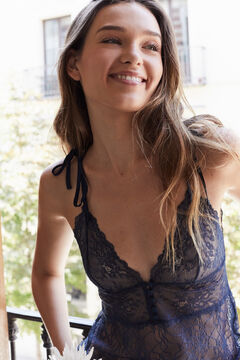 Womensecret Long strappy lace nightgown blue