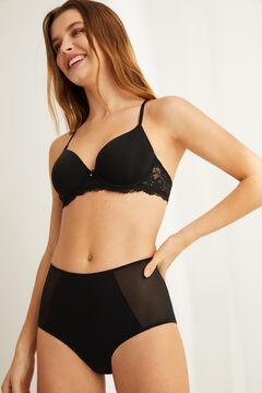 Womensecret Black high waist semi-control microfibre and tulle panty black