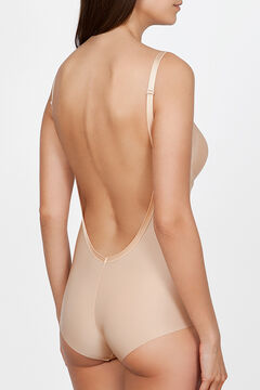 Womensecret Ivette Bridal natural backless bodysuit with push-up cups barna