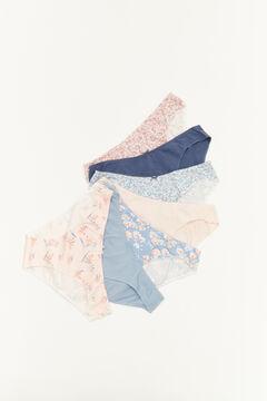 Womensecret Pack 7 braguitas clásicas algodón estampado azul azul