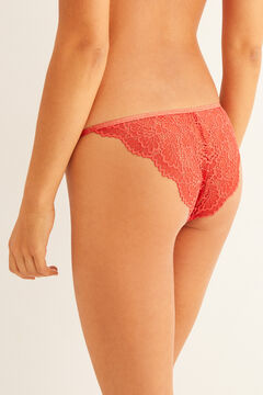 Womensecret Classic terracotta lace strappy panty red