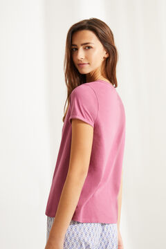 Womensecret Pink cotton Henley t-shirt pink