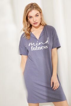 Womensecret Super soft striped midi nightgown grey