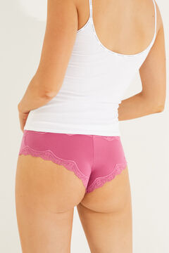 Womensecret Maroon lace and microfibre wide side Brazilian panty pink