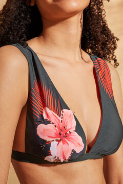Womensecret Floral print halterneck bikini top  green