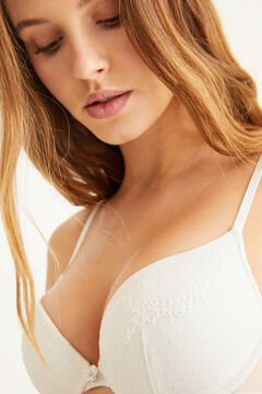 Womensecret GORGEOUS White flocked tulle push-up bra white