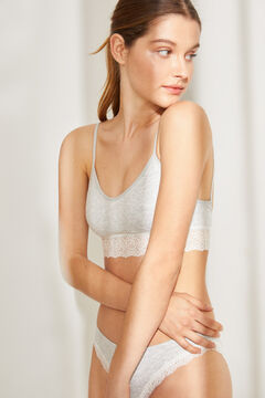 Womensecret Seamless top with removable cups and lace details grey