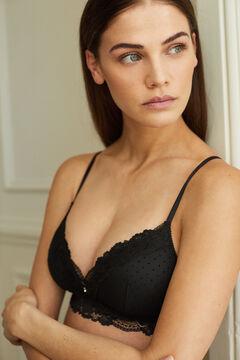 Womensecret LOVELY Sujetador triangular tul flocado negro negro