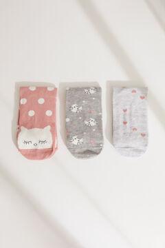 Womensecret Pack de 3 calcetines medios estampados gatos estampado