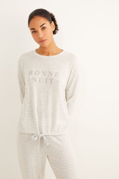 Womensecret Szürke, hosszú, csíkos téli pizsama szürke