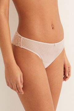 Womensecret Brazilian mesh and lace panty pink