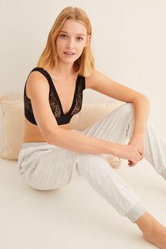 Womensecret Pantalon long velours gris gris