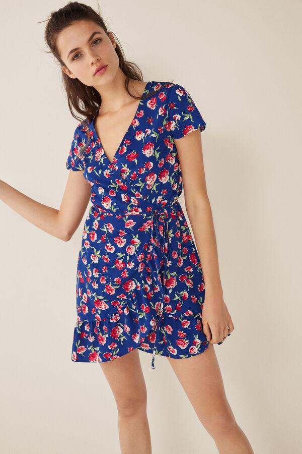 bc588ba0f Womensecret Vestido corto cruzado flores estampado