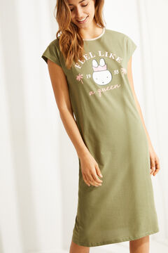 Womensecret Green cotton Miffy midi nightgown beige