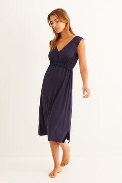 Womensecret Soft touch midi nightgown blue