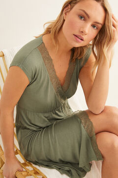 Womensecret Short nightgown with lace detail green