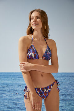 Womensecret Tropical print halterneck triangle bikini top blue