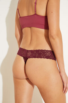 Womensecret Maroon lace tanga printed