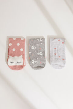Womensecret Pack of 3 cat print mid-length socks printed