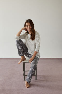 Womensecret Long grey floral pyjamas in 100% organic cotton grey