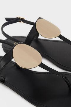 Womensecret Metallic detail flat sandals black