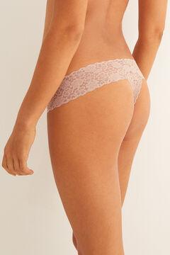 Womensecret String en dentelle beige nude