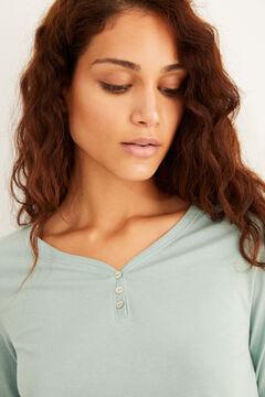 Womensecret Hosszú ujjú, gombos nyakú, világoszöld pamutpóló zöld