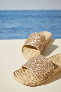 Womensecret Gold slider sandals nude