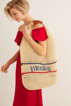 "Womensecret Bolso efecto rafia ""Vacation"" blanco"