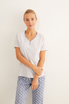 Womensecret Blue short-sleeved printed pyjamas grey