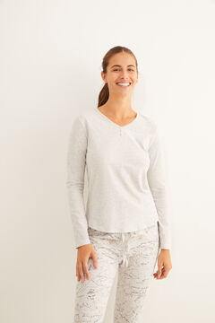 Womensecret Grey Henley t-shirt  grey