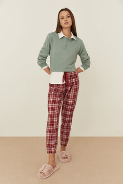 Womensecret Long red checked trousers printed