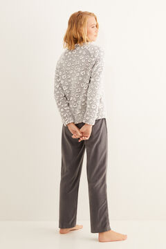 Womensecret Pyjama long animal print gris gris