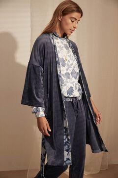 Womensecret Robe comprido veludo detalhes estampados azul